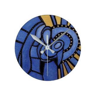 Modern Christmas Nativity Jesus Mary Joseph Blue Round Clock