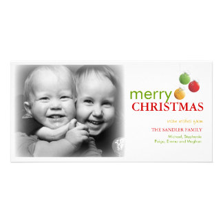 Modern Christmas Ornament Photo Greeting Card