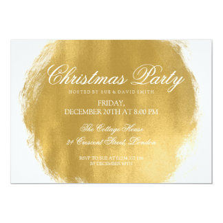 Modern Christmas Party Gold Paint Look Card