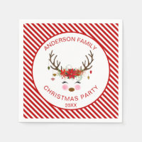 Modern Christmas Party Reindeer with Ornaments Napkin