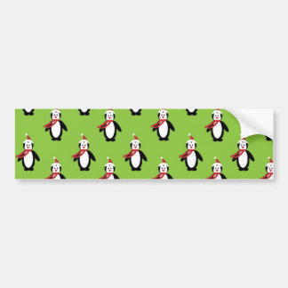Modern Christmas Penguin Pattern Car Bumper Sticker
