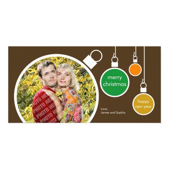 Modern Christmas Photo Card- Chocolate Brown Card