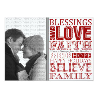 Modern Christmas Photo Cards with Subway Art (Red)