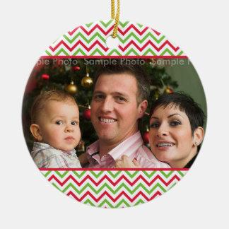 Modern Christmas Photo Chevron Pattern Ceramic Ornament