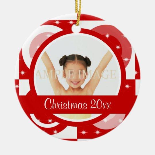 Modern Christmas photo personalize Ceramic Ornament