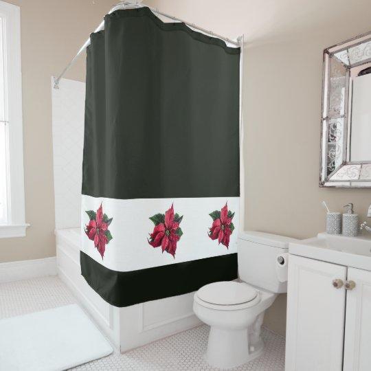 Modern Christmas Poinsettia Shower Curtain