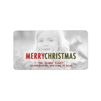 MODERN CHRISTMAS   RED HOLIDAY PHOTO ADDRESS LABEL