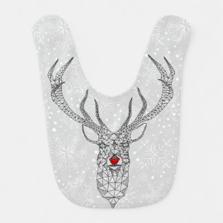Modern Christmas Red Nose Deer Bib