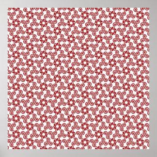 Modern Christmas Red Scroll Pattern Print