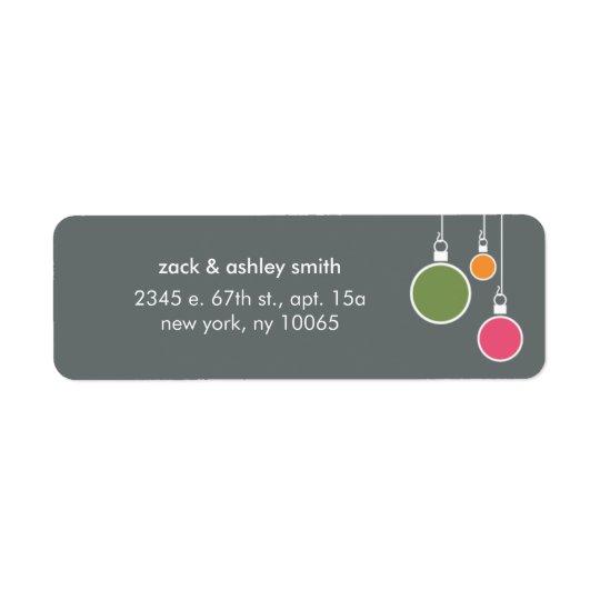 Modern Christmas Return Address Label - Gray