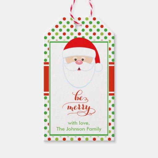 Modern Christmas Santa Holiday Gift Tag Zazzle