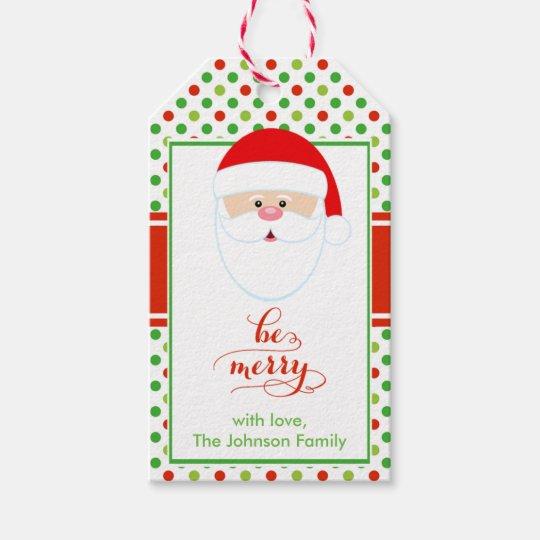 modern christmas santa holiday gift tag zazzle com