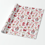 Modern Christmas Santas, Penguins & Polar Bears Wrapping Paper