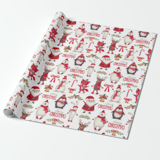 Modern Christmas Santas, Penguins & Polar Bears Wrapping Paper