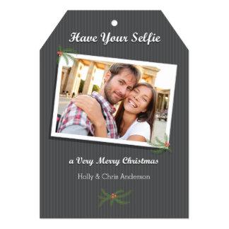Modern Christmas Selfie Photo Card Ticket