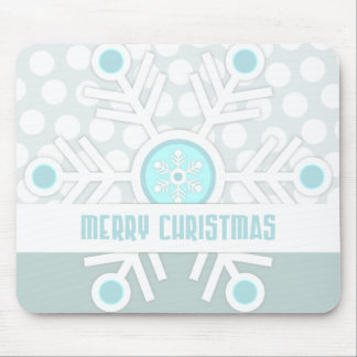 Modern Christmas Snowflake Polka Dot Print Mouse Pad
