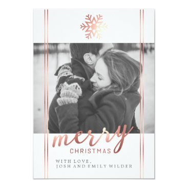 Christmas Themed Modern Christmas Snowflake | White and Rose Gold Card