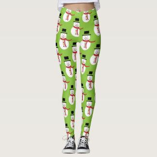 Modern Christmas Snowman Pattern Leggings