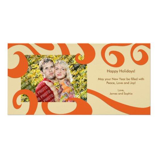 Modern Christmas Swirls Photo Card- Orange Card