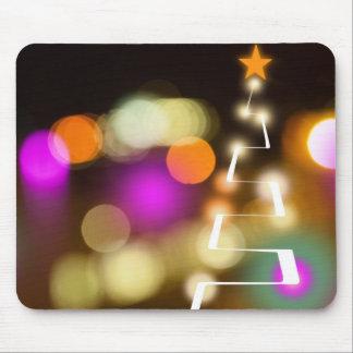 Modern Christmas Tree and Lights Mouse Pad