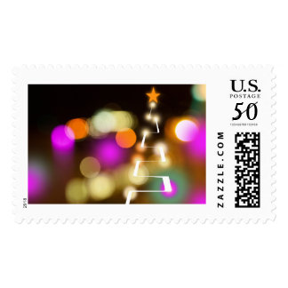 Modern Christmas Tree and Lights Postage