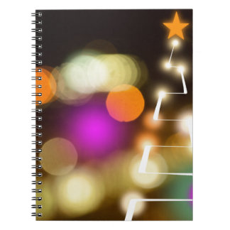Modern Christmas Tree and Lights Spiral Notebook