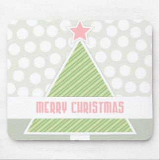 Modern Christmas Tree and Polka Dot Print Mouse Pad