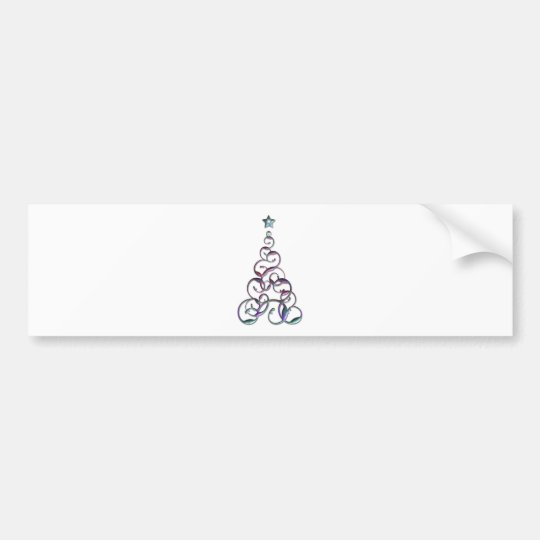 Modern Christmas Tree Art Bumper Sticker
