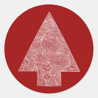 Modern Christmas Tree Classic Round Sticker