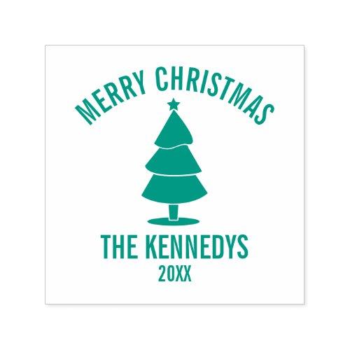 Modern Christmas Tree Family Name Merry Christmas Self_inking Stamp