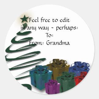 Modern Christmas Tree Graphic w/ Bright Presents Sticker