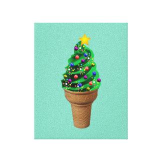 Modern Christmas Tree Ice Cream Art Canvas Print
