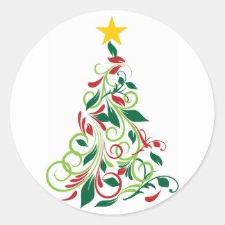 Modern Christmas tree Illustration Classic Round Sticker