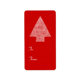 Modern Christmas Tree Label