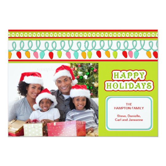 Modern Christmas  Tree Lights Personalized Photo Card