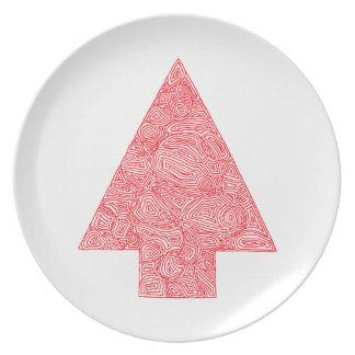 Modern Christmas Tree Melamine Plate
