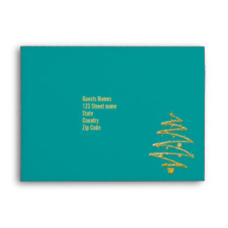 Modern Christmas tree party envelope template