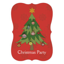 Modern Christmas tree party Invitation