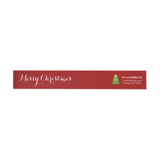 Modern Christmas Tree Red Personalized Wrap Around Label