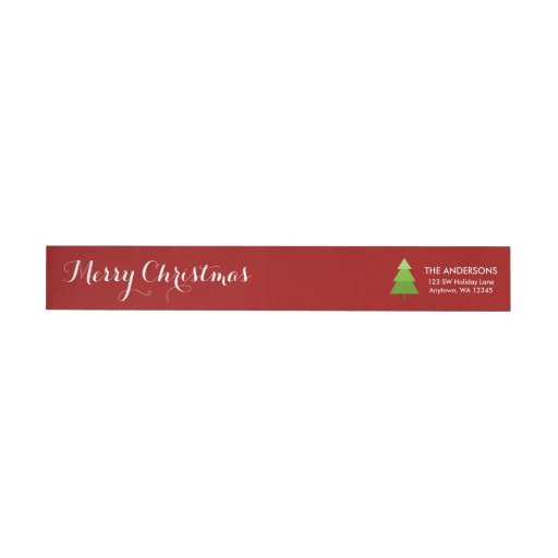 Modern Christmas Tree Red Personalized...
