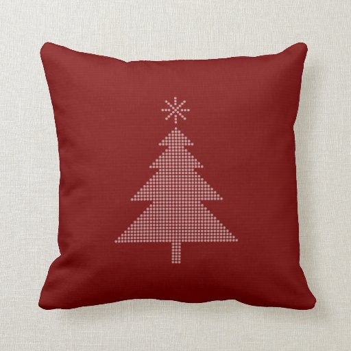 Modern Red Pillows : Modern Christmas Tree Red Pillow Zazzle