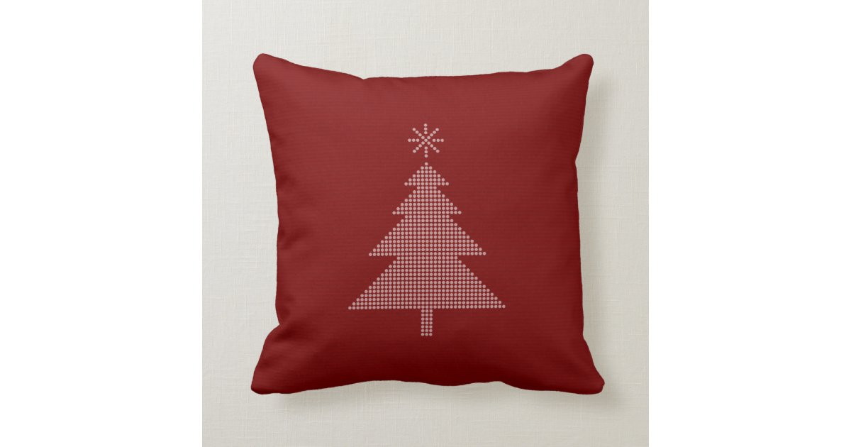 Modern Christmas Tree Red Pillow Zazzle