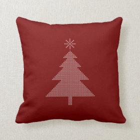 Modern Christmas Tree Red Pillow