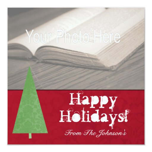 Modern Christmas Tree Red Vintage Flat Cards Custom Announcements