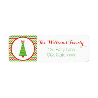 Modern Christmas Tree Return Address Label