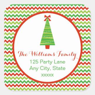 Modern Christmas Tree Return Address Sticker
