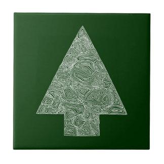 Modern Christmas Tree Small Square Tile