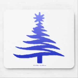Modern Christmas Tree Stencil Print Blue Mouse Pad