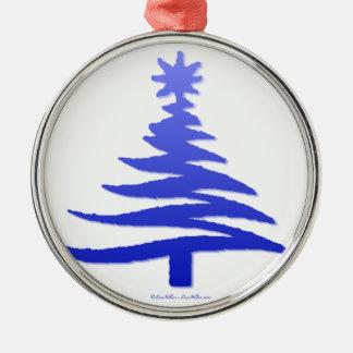 Modern Christmas Tree Stencil Print Blue Ornaments