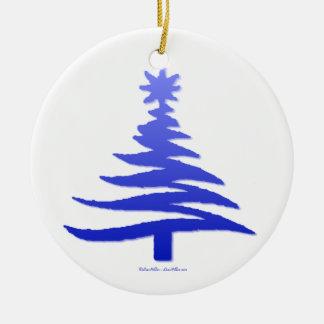 Modern Christmas Tree Stencil Print Blue Ornament